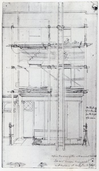 The exterior of Issac's House being painted, 1843 (pencil on paper) by George the Elder Scharf - print