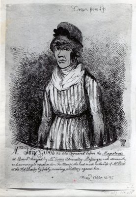 Mrs. Jane Gibbs as she appeared before the Magistrate, 1799 Poster Art Print by English School