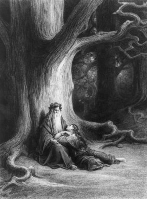 The Enchanter Merlin and the Fairy Vivien in the forest of Broceliande, from 'Vivien', poem by Alfred Tennyson Poster Art Print by Gustave Dore