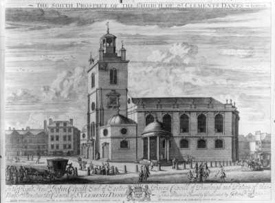 The South Prospect of the Church of St. Clements Danes, London (engraving) by Johannes Kip - print