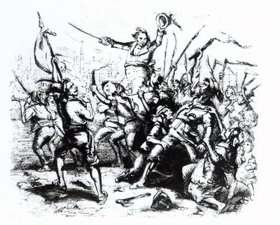 Fine Art Print of Luddite Rioters, 1811-12 by English School