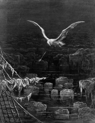 The albatross is shot by the Mariner, scene from 'The Rime of the Ancient Mariner' by S.T. Coleridge, by S.T. Coleridge, published by Harper & Brothers, New York, 1876 (wood engraving) by Gustave Dore - print