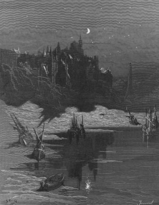 The first vision of his native country by the Mariner, freed from his trance and woken from sleep, scene from 'The Rime of the Ancient Mariner' by S.T. Coleridge, published by Harper & Brothers, New York, 1876 (wood engraving) by Gustave Dore - print