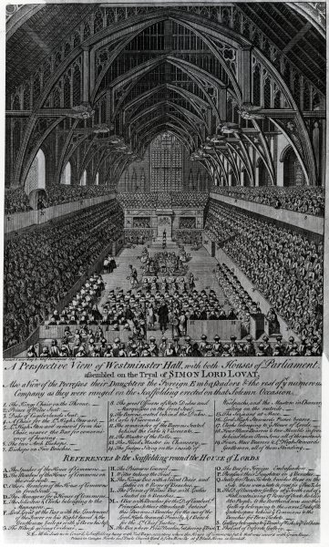 Trial of Simon Fraser, Lord Lovat, in Westminster Hall, 1747 (engraving) by English School - print