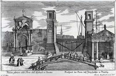 Fine Art Print of View of the gates at the entrance to the Arsenal in Venice, published by Martin Engelbrecht, c.1740s by German School
