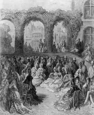 Holland House - A Garden Party, from 'London, a Pilgrimage', written by William Blanchard Jerrolds (1826-84), engraved by A. Doms, pub. 1872 (engraving) by Gustave Dore - print