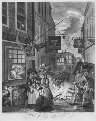 Fine Art Print of Times of the Day, Night, 1738 by William Hogarth