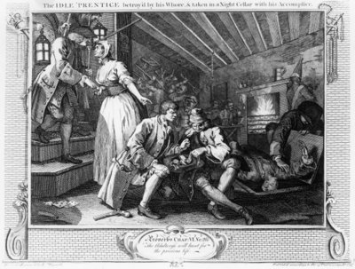 Fine Art Print of The Idle 'Prentice Betrayed by a Prostitute, plate IX of 'Industry and Idleness', 1747 by William Hogarth