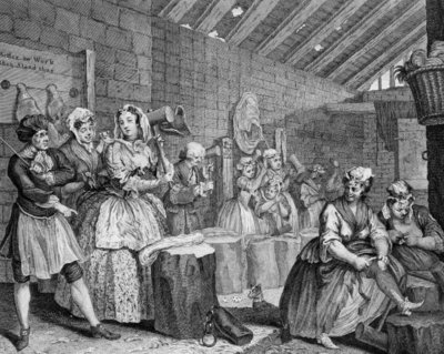 A Harlot's Progress, plate IV, Scene in Bridewell (engraving) by William Hogarth - print