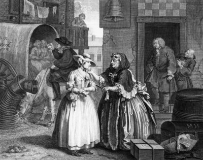 Fine Art Print of A Harlot's Progress, plate I, Ensnared by a Procuress by William Hogarth