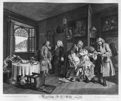 Marriage a la Mode, Plate VI, The Lady's Death, 1745 (engraving) by William Hogarth - print