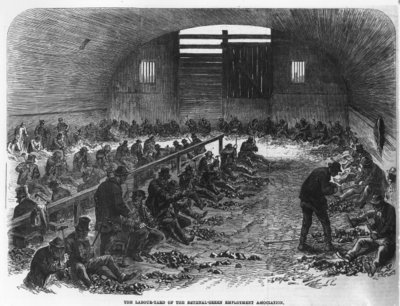 The Labour Yard of the Bethnal Green Employment Association, from 'The Illustrated London News', 1868 (engraving) by English School - print