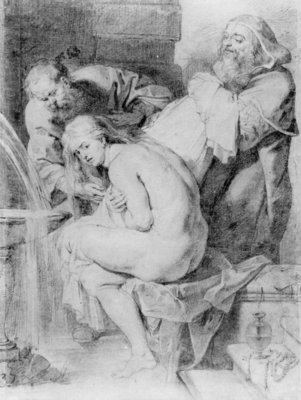 Susanna and the Elders, drawn by Lucas Vorsterman, c.1620 (chalk, pen & ink on paper) by Peter Paul Rubens - print