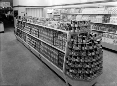 Soup aisle, Woolworths store, 1956 (b/w photo) by English Photographer - print