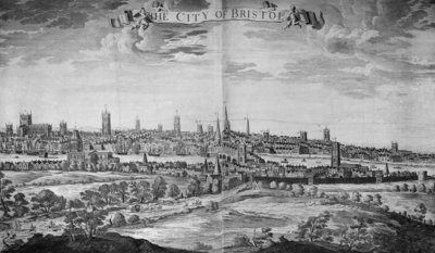 The City of Bristol (with key), 1717 (engraving) by Johannes Kip - print