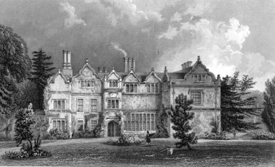 West Front of Spains Hall, Essex, engraved by John Rogers, 1832 (engraving) by William Henry Bartlett - print