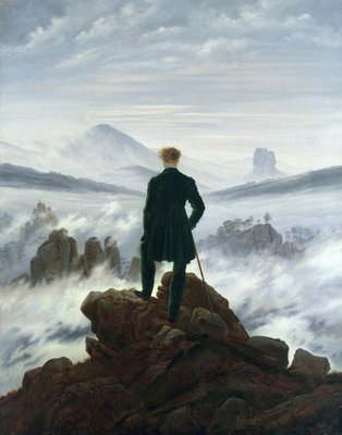 Fine Art Print of The Wanderer above the Sea of Fog, 1818 by Caspar David Friedrich