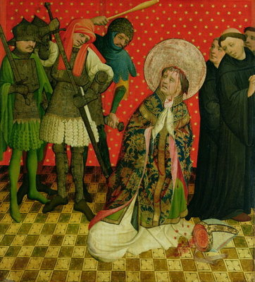 The Martyrdom of St. Thomas of Canterbury, panel from the St. Thomas Altar from St. John's Church, Hamburg, begun in 1424 Poster Art Print by Master Francke