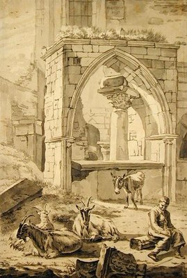 Fine Art Print of Shepherd with goats and a donkey in front of the ruins, 1693 by Willem Romeyn