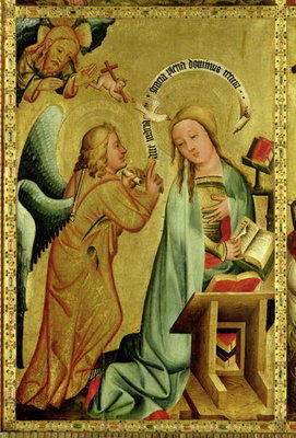 Fine Art Print of The Annunciation from the High Altar of St. Peter's in Hamburg, the Grabower Altar, 1383 by Master Bertram of Minden