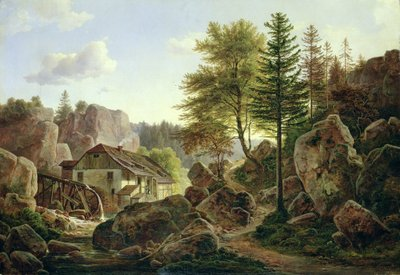 Fine Art Print of A Watermill in the Vosges near Ribanville, 1836 by Carl Morgenstern