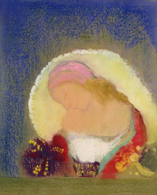 Profile of a Girl with Flowers, c.1900 Poster Art Print by Odilon Redon