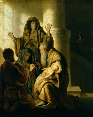 Fine Art Print of Simeon and Hannah in the Temple, c.1627 by Rembrandt Harmensz. van Rijn