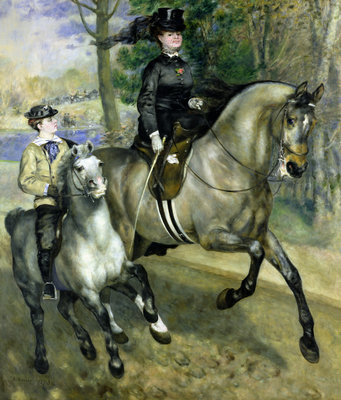 Fine Art Print of Horsewoman in the Bois de Boulogne, 1873 by Pierre Auguste Renoir
