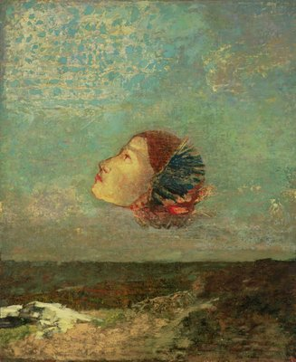 Homage to Goya, c.1895 (oil on card mounted on canvas) by Odilon Redon - print