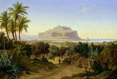 View of Palermo with Mount Pellegrino Poster Art Print by August Wilhelm Julius Ahlborn