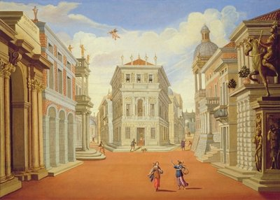 Act II, scenes I and VIII (oil on canvas) by Giacomo Torelli - print