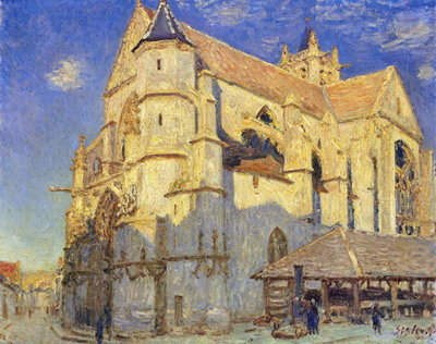 Fine Art Print of The Church at Moret, Frosty Weather, 1893 by Alfred Sisley