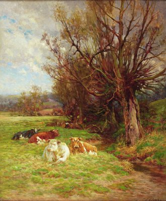 Fine Art Print of Cattle grazing by Charles James Adams