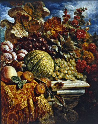 Still life with fruit Poster Art Print by George Lance