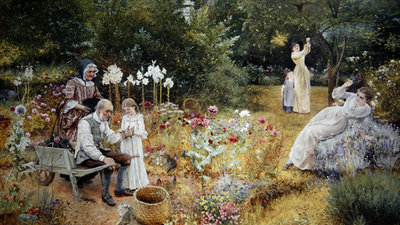 Calling the Bees Poster Art Print by Edward Killingworth Johnson
