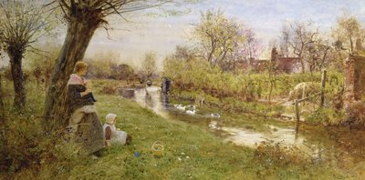Watching the Ducks, 1890 (w/c on paper) by Thomas James Lloyd - print