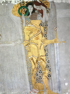 The Knight detail of the Beethoven Frieze, said to be a portrait of Gustav Mahler (1860-1911), 1902 (fresco) by Gustav Klimt - print