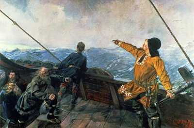 Leif Eriksson (10th century) sights land in America, 1893 by Christian Krohg - print