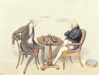 Ms 435a3 pl.215 A Game of Chess; Lord Grey (1764-1845) playing chess with William IV (1765-1837) during the Reform Bill controversy from Doyles Political Sketches, 1832 (print) by English School - print