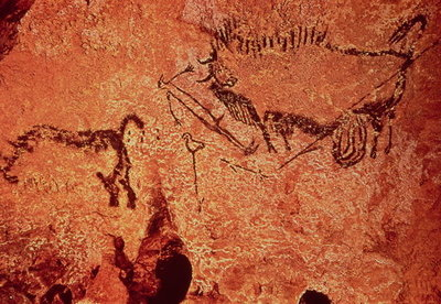 Rock painting of a hunting scene, c.17000 BC (cave painting) by Prehistoric - print