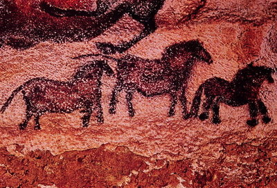 Rock painting of tarpans (ponies), c.17000 BC (cave painting) by Prehistoric - print
