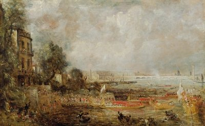 The Opening of Waterloo Bridge, c.1829-31 (oil on canvas) by John Constable - print