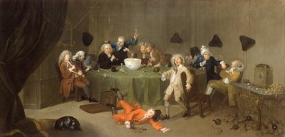 A Midnight Modern Conversation, c.1732 (oil on canvas) by William Hogarth - print