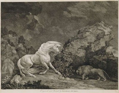 A Horse Affrighted by a Lion, engraved by the artist (etching) by George Stubbs - print