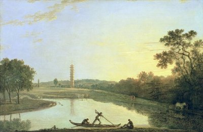 Kew Gardens: The Pagoda and Bridge, 1762 (oil on canvas) by Richard Wilson - print