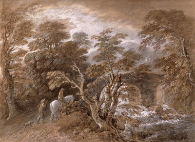 A Woodland Pool with Rocks and Plants, c.1765-70 (w/c and black chalk over graphite with oil paint on paper) by Thomas Gainsborough - print
