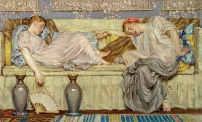 Beads (study), c.1875 (oil on canvas) by Albert Joseph Moore - print