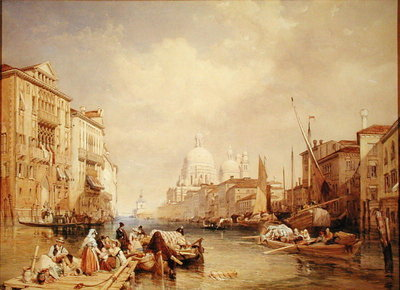 The Grand Canal, Venice, 1835 (w/c, bodycolour, pen, ink & pencil on paper laid down on panel) by James Duffield Harding - print
