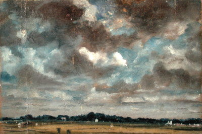 Extensive Landscape with Grey Clouds, c.1821 (oil on paper on canvas) by John Constable - print