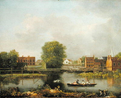 A River Landscape, possibly a View from the West End of Rochester Bridge, 1800-10 (oil on canvas) by John Inigo Richards - print